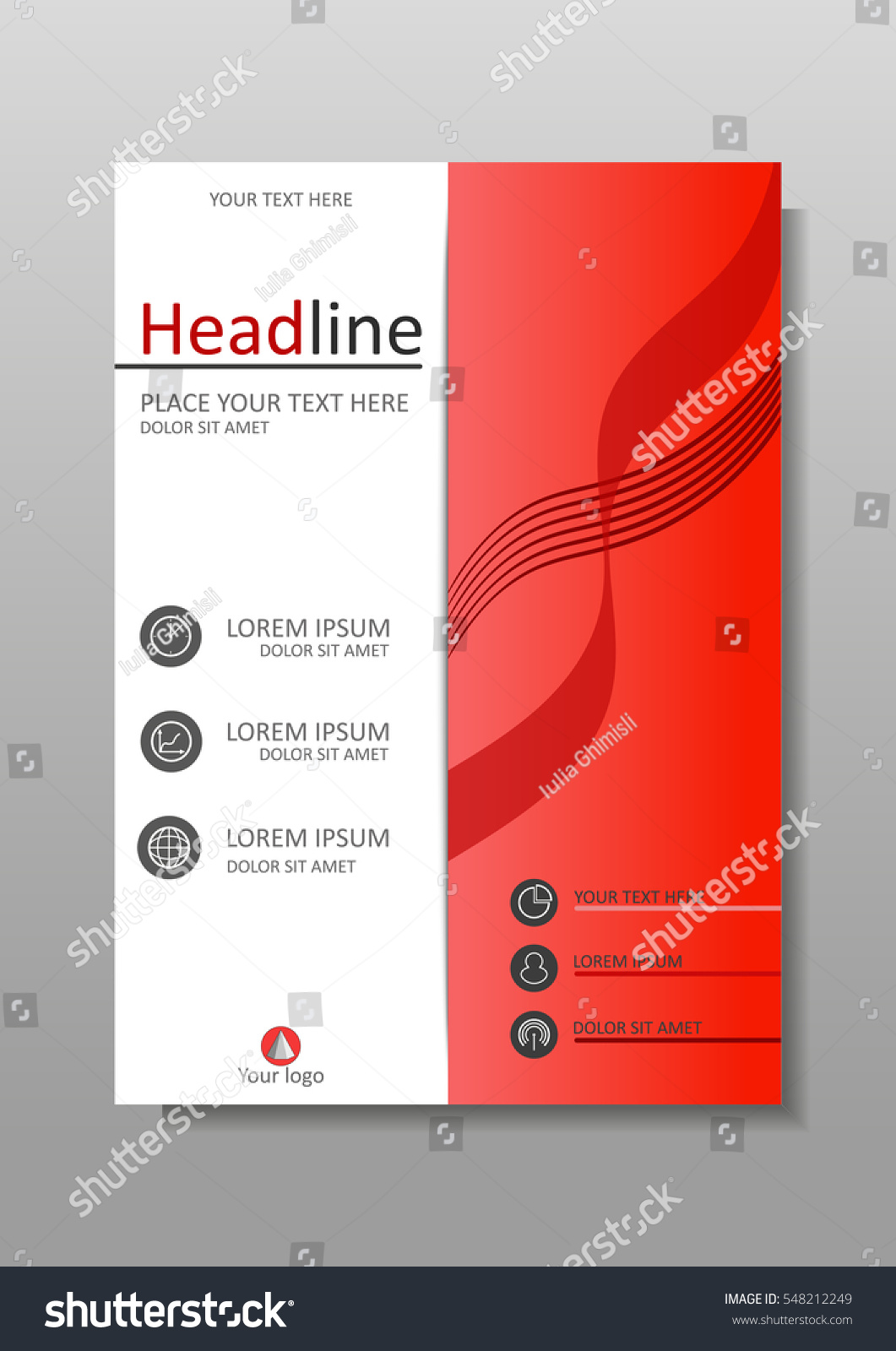 Business Book Cover Design Template : Red a business book cover design stock vector