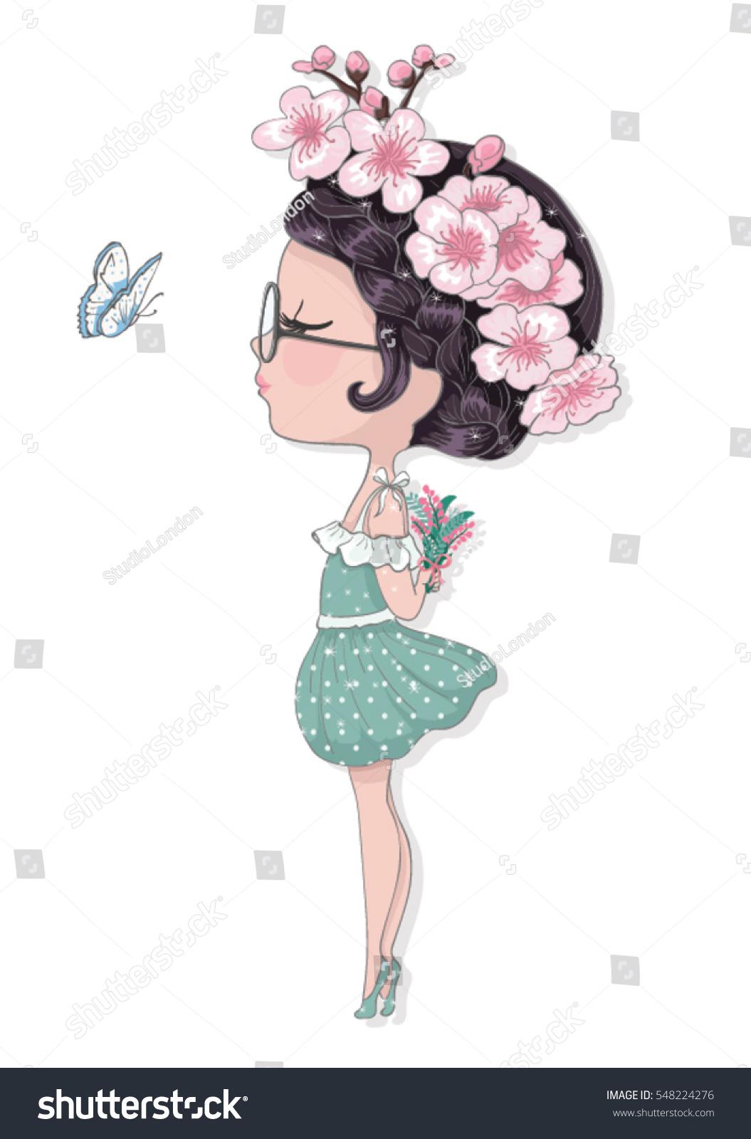 Cute Girl Flowerschildren Illustration School Books Stock ...