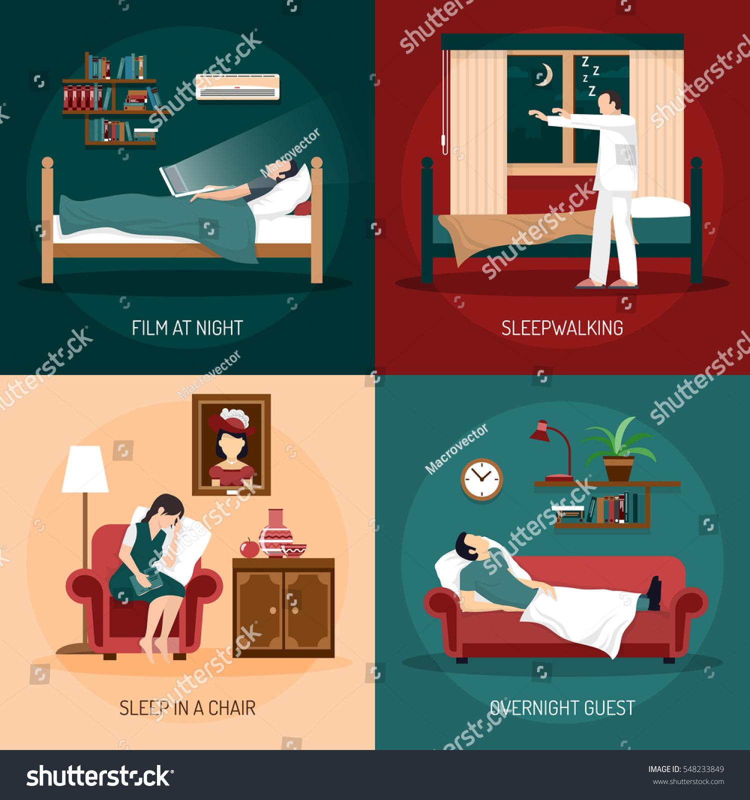 Sleeping Poses Design Concept Sleepwalking Sleep Stock Vector
