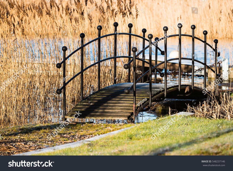 Small Narrow Bridge On Walkway Over Stock Photo 548237146 ...