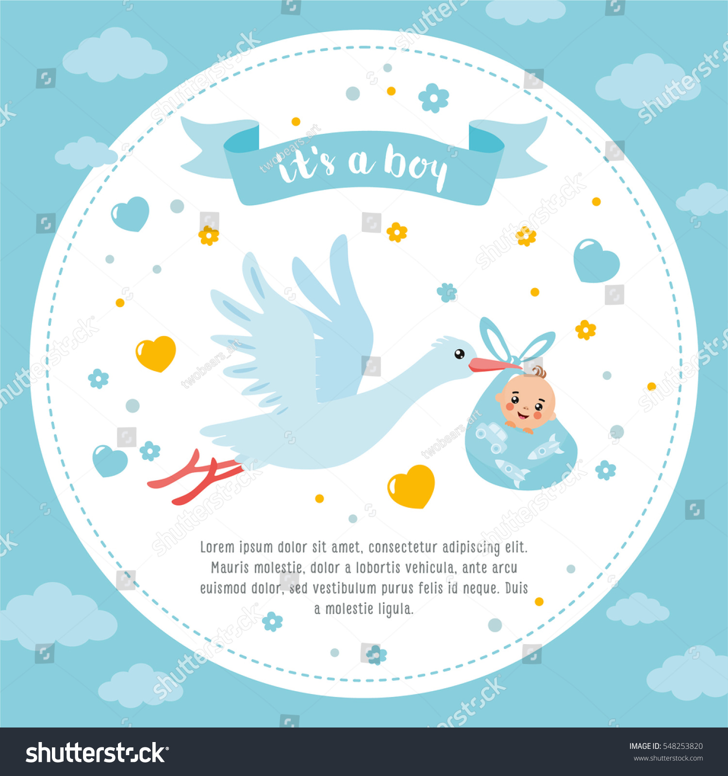 Baby Shower Frame Stork Carrying Cute Stock Vector 548253820 ...