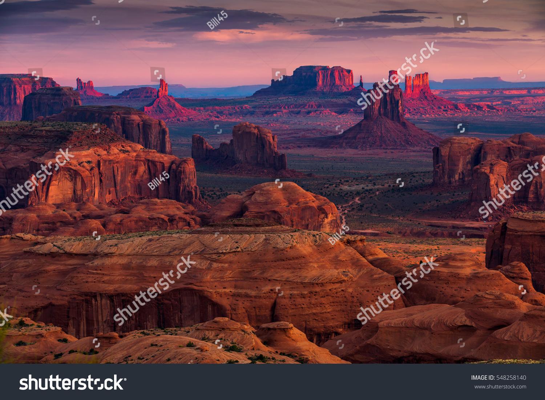 Sunrise in Hunts Mesa navajo tribal majesty place near Monument Valley, Arizona, USA #548258140