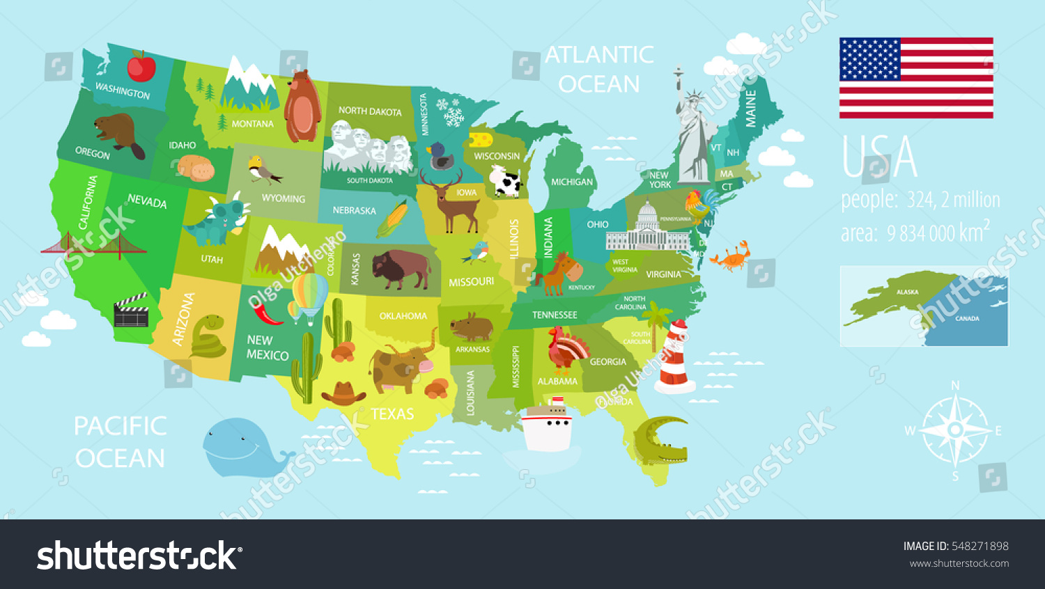Tourist Infographics About America National Symbols Stock Vector