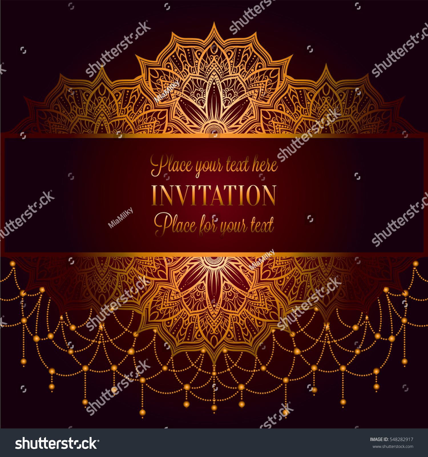 Wedding Invitation Card Intricate Mandala Beads Stock Vector ...