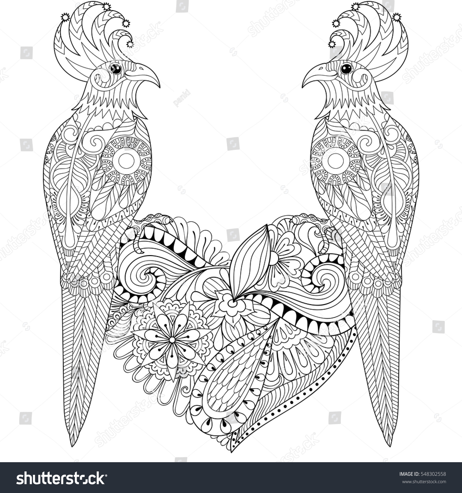 exotic tropical zentangle bird lovely couple stock vector