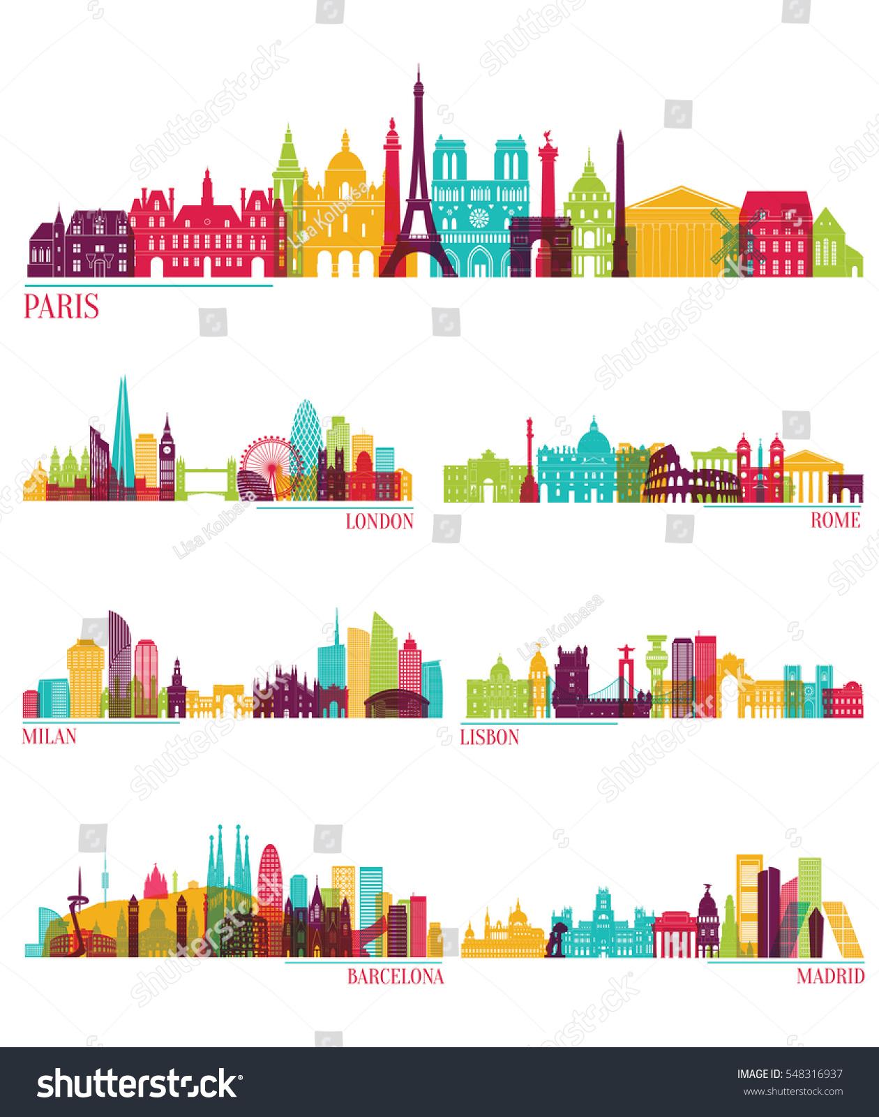 Skyline Detailed Silhouette Set Paris London Stock Vector