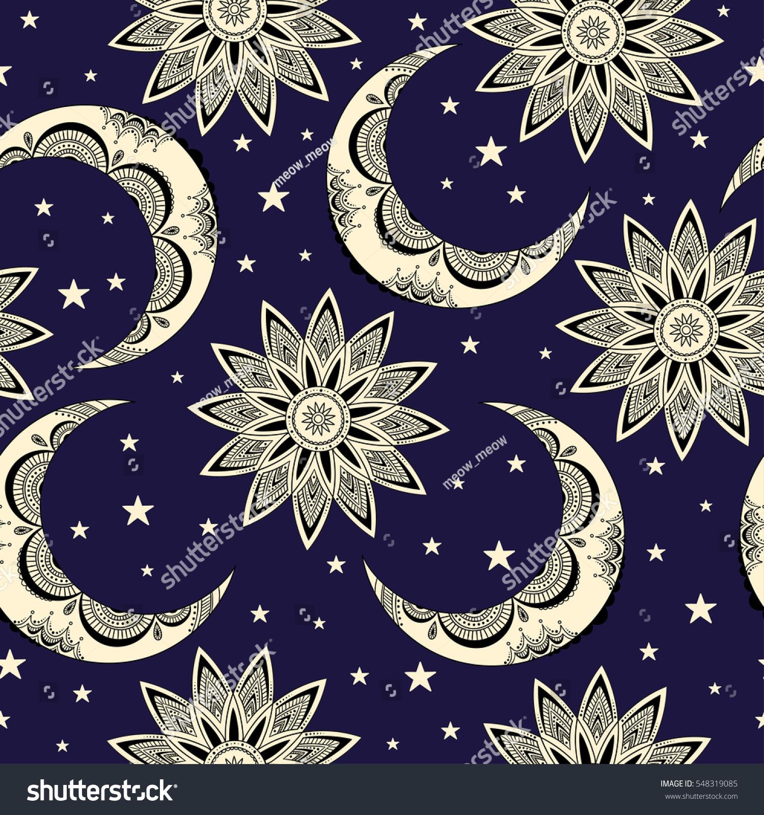 Vector Seamless Pattern Vintage Moon Sun Stock Vector ...