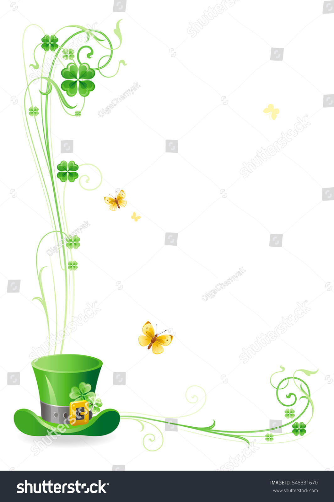 Happy saint patrick day border corner stock vector 548331670 happy saint patrick day border corner isolated on white background leprechaun green hat thecheapjerseys Image collections
