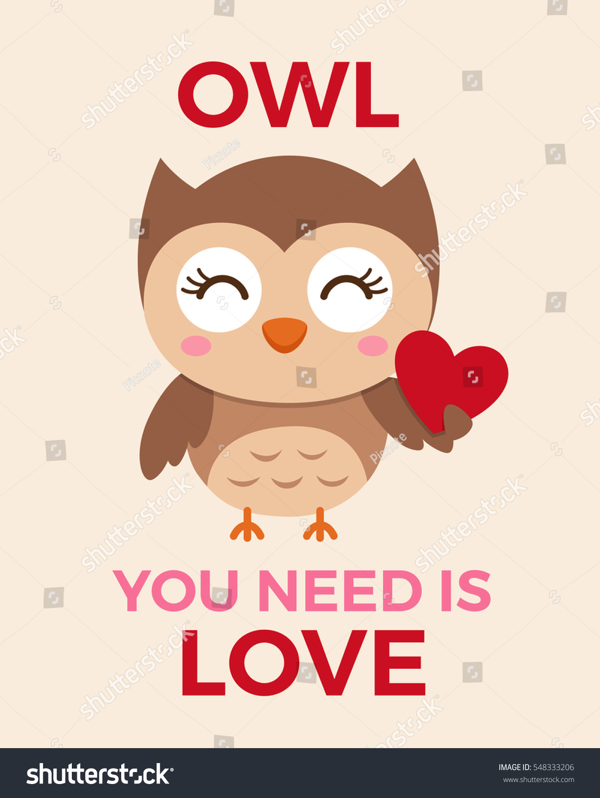 Cute Owl Illustration Valentines Day Card Stock Vector Royalty Free