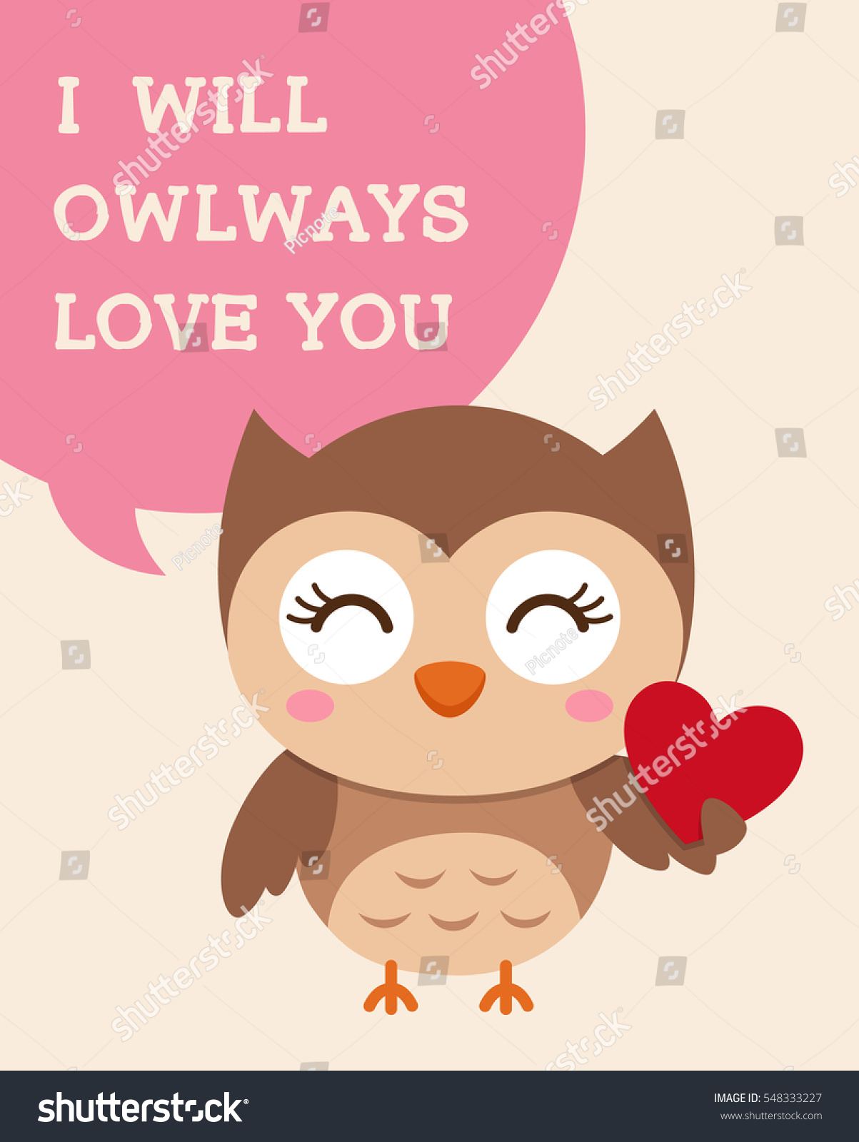 Cute Owl Illustration Valentines Day Card Vector 548333227 – Owl Valentines Day Cards