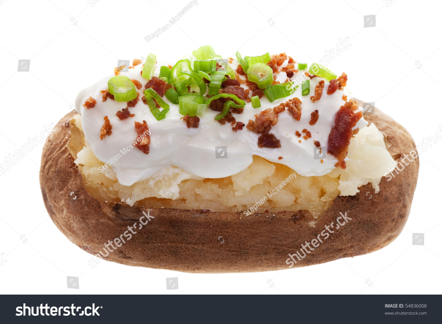Baked Potato Sour Cream Bacon Bits Stock Photo 54836008 ...