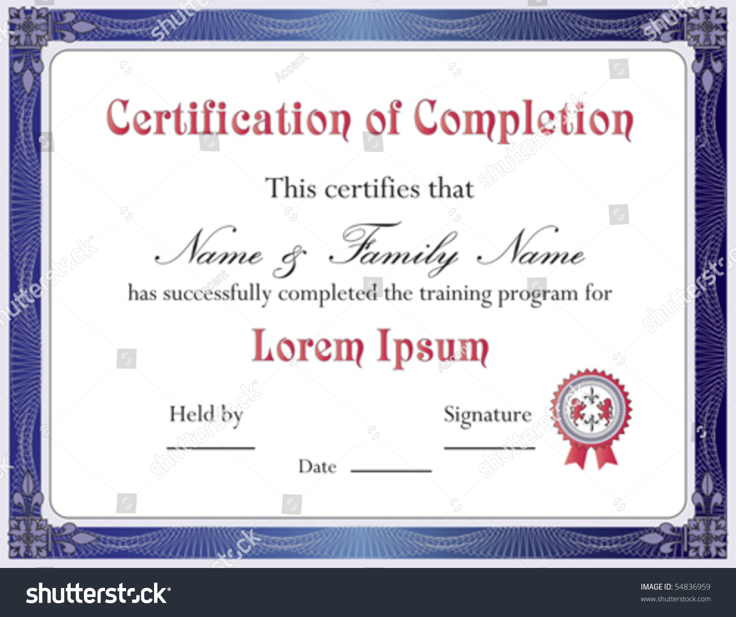Certificate completion template vector format stock vector certificate of completion template vector format yadclub Gallery