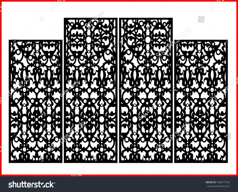Vintage Precisedetailed Screen Laser Cut Panel Stock-Vektorgrafik ...
