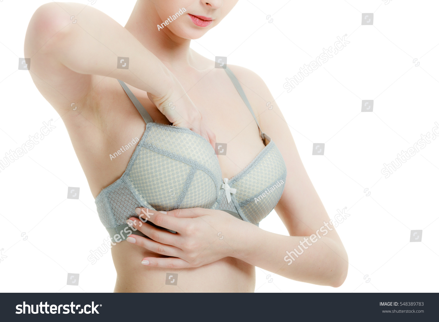 Woman Bra Lace Lingerie Taking Care Stock Photo 548389783 ...