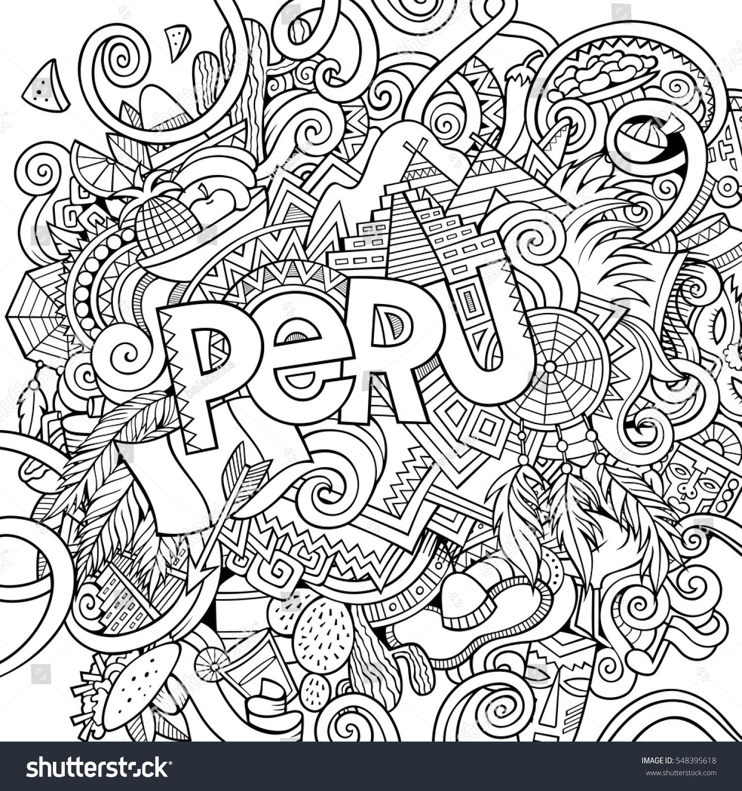 Stock vector music hand lettering and doodles elements - Peru Country Hand Lettering And Doodles Elements And Symbols Background Vector Hand Drawn Sketchy Illustration