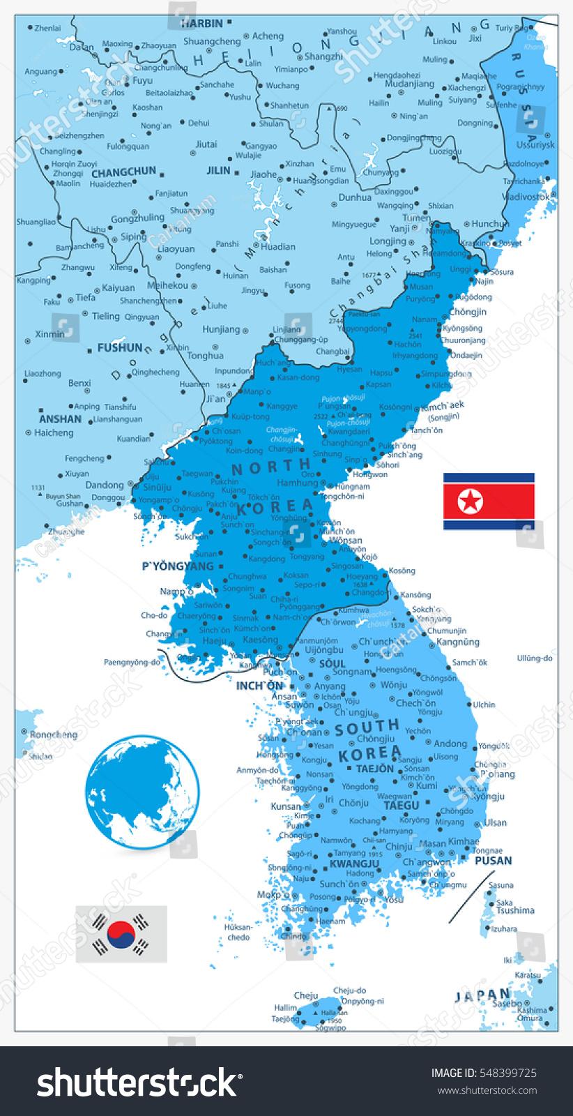 Korean Peninsula Map Colors Blue Isolated Stock Vector - Haicheng map