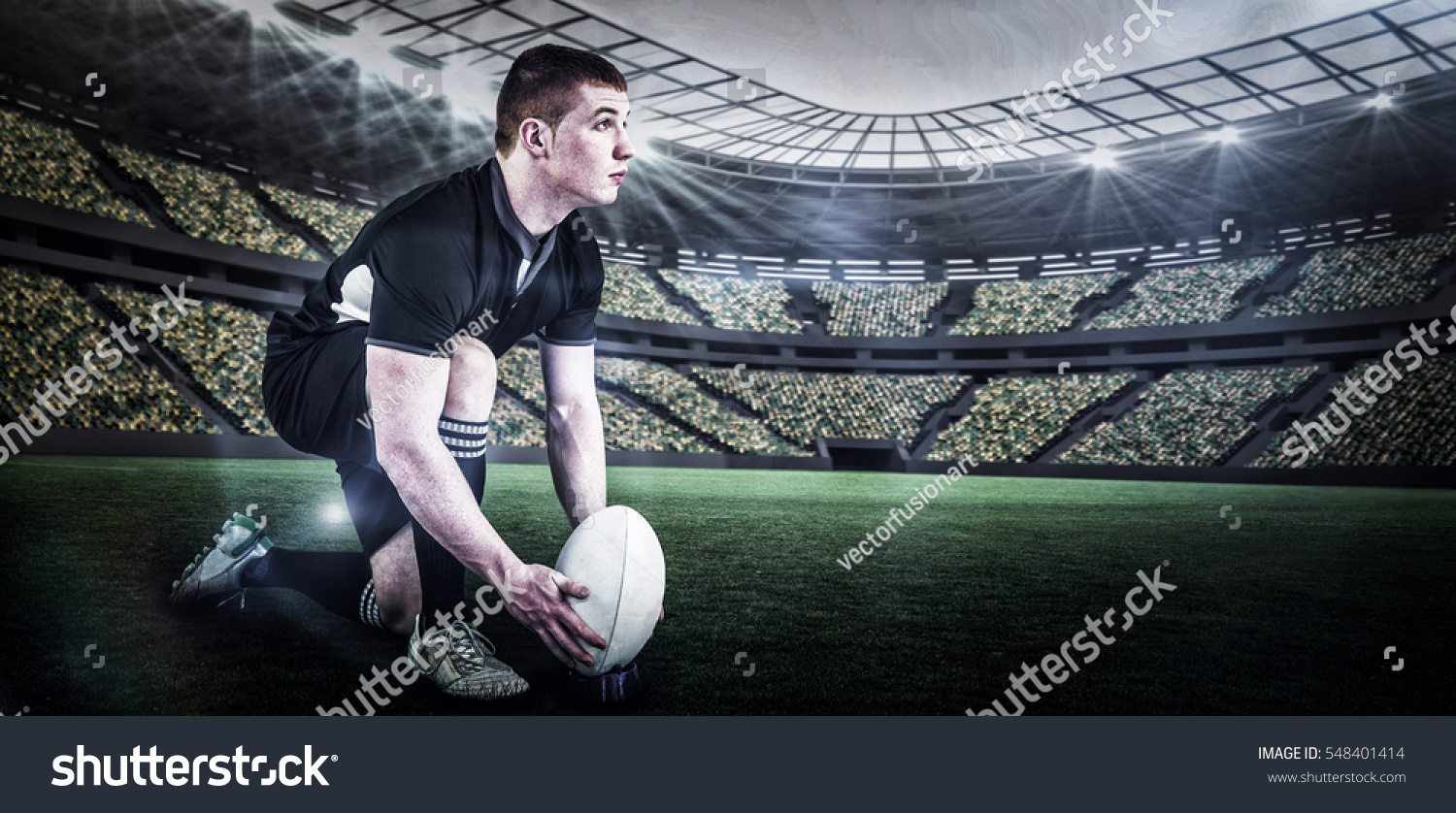 Rugby Player Ready Make Drop Kick Stock Photo (Edit Now