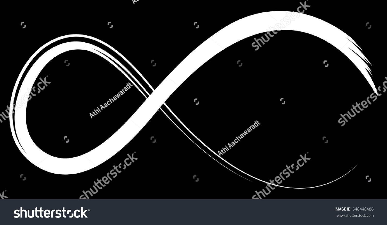 White Infinity Symbol On Black Background Stock Illustration