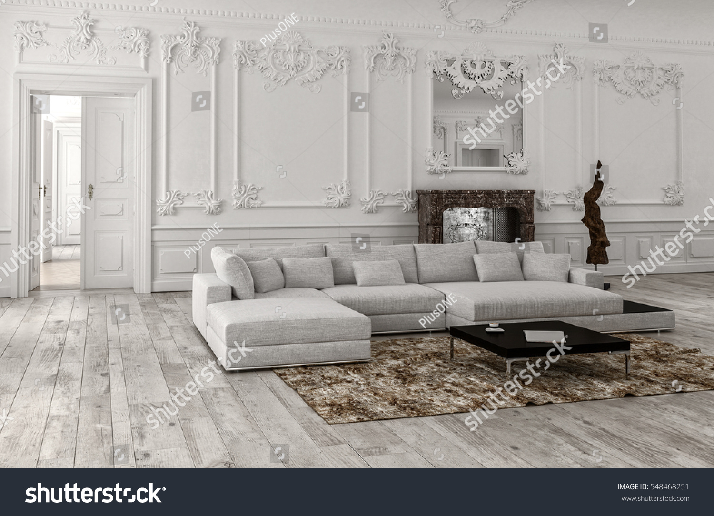neutral monochrome white classical living room stock illustration