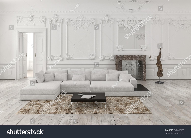 Classical White Monochrome Living Room Interior Stock Illustration ...
