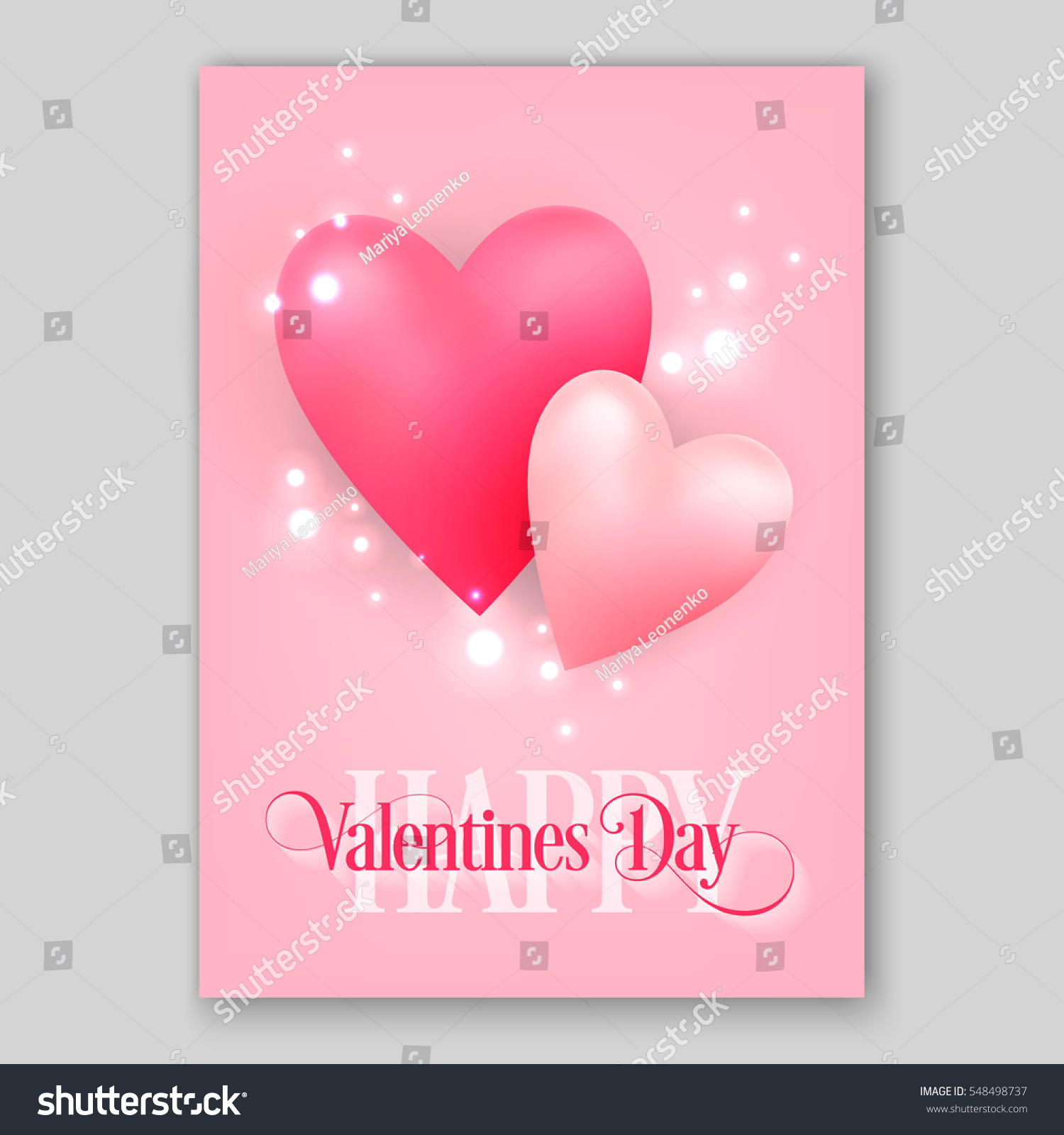 Happy Valentines Day Party Invitation Card Stock Vector 548498737 ...
