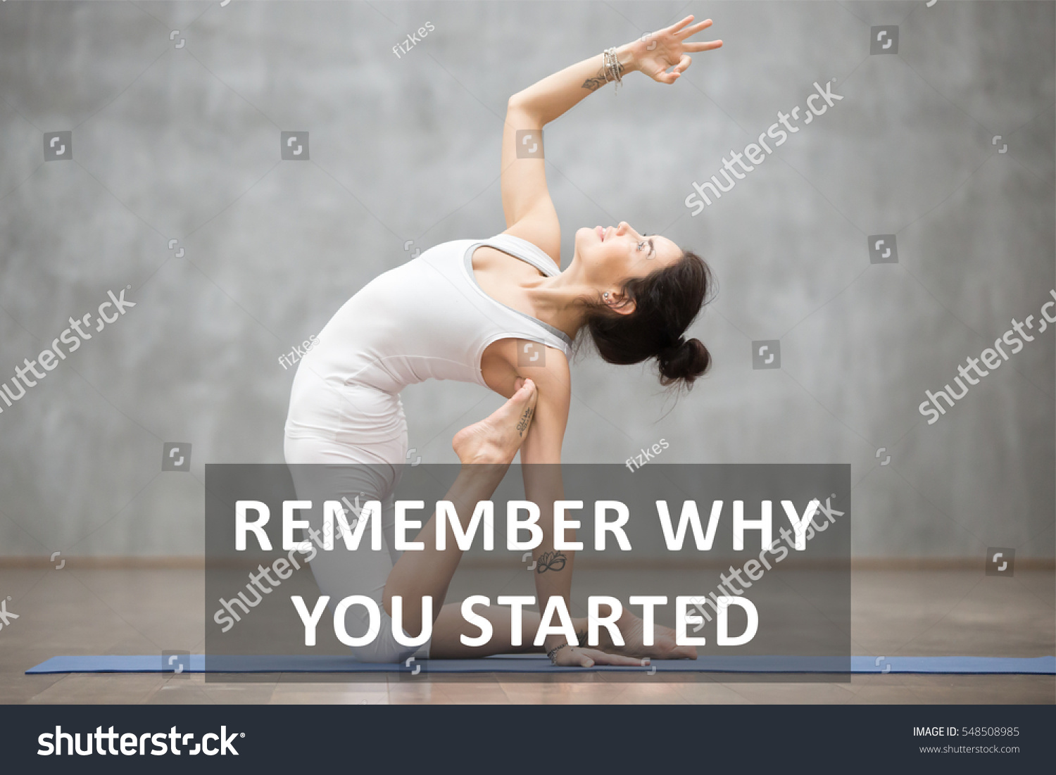 Fit Woman Tattoo Doing Yoga Pilates Stock Photo Edit Now 548508985
