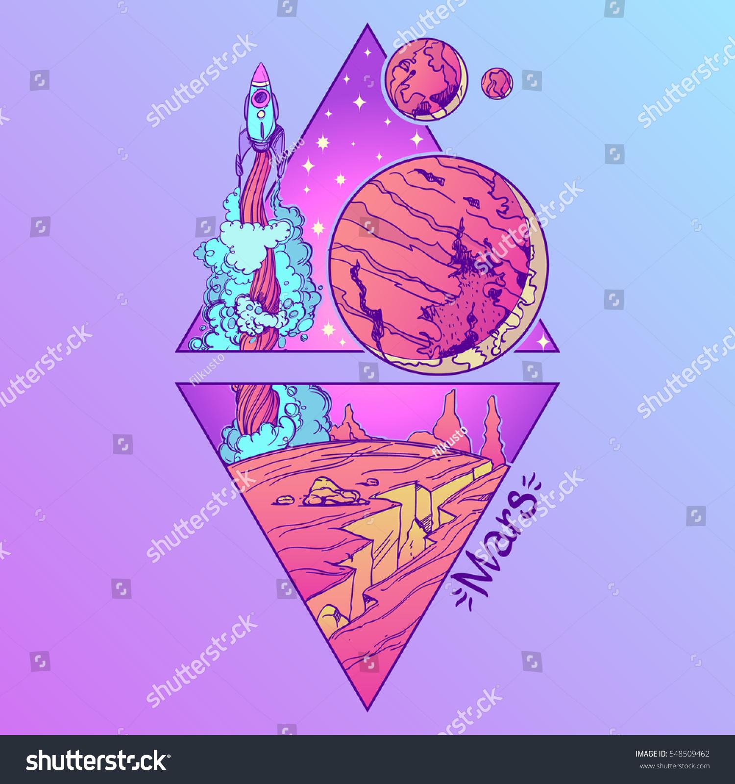 Mars Planets Stars Solar System Symbols Stock Vector Royalty Free