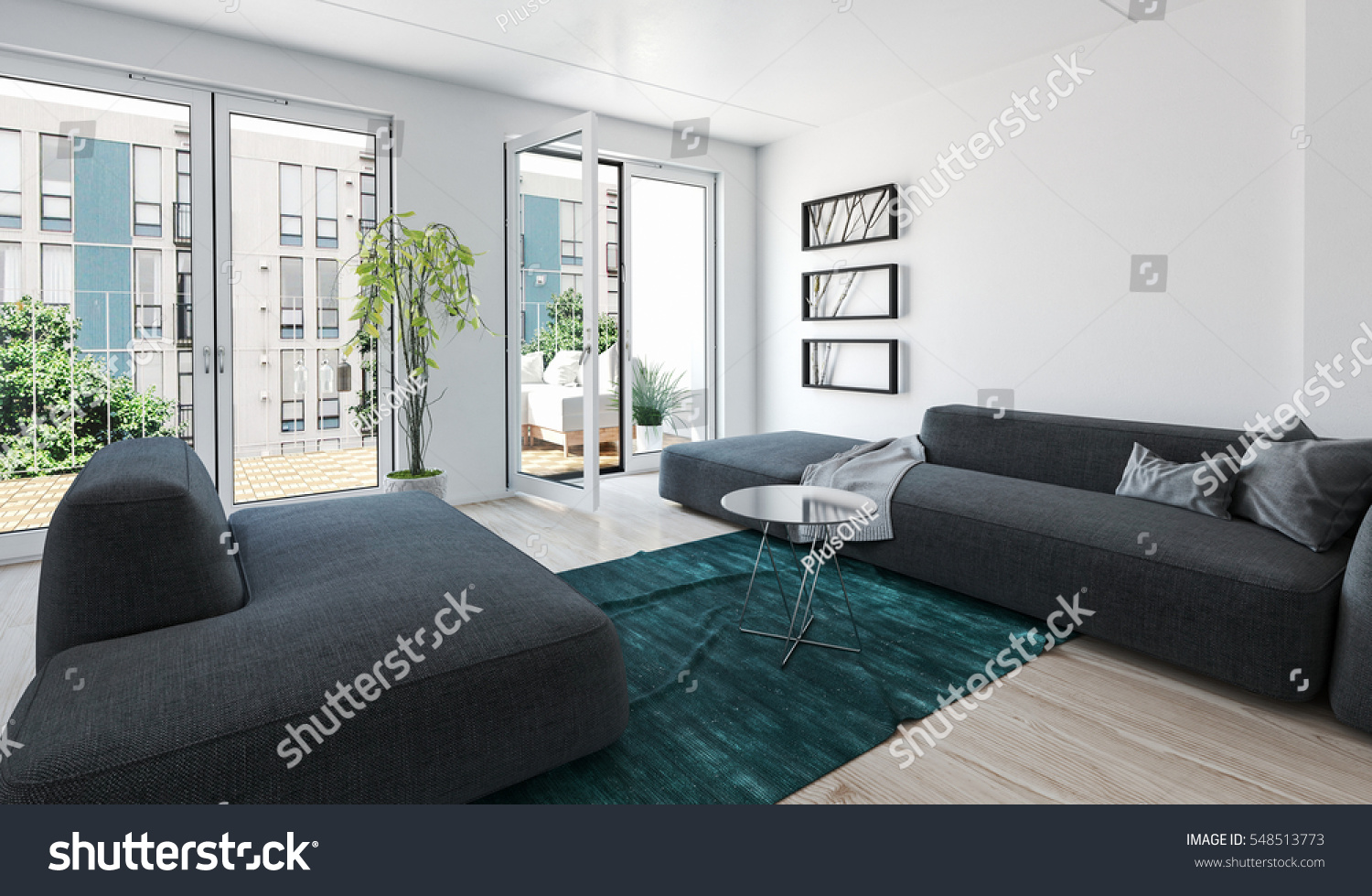 Large Modern Luxury Condo Living Room Interior With Grey Upholstered  Couches And Glass Doors Leading To
