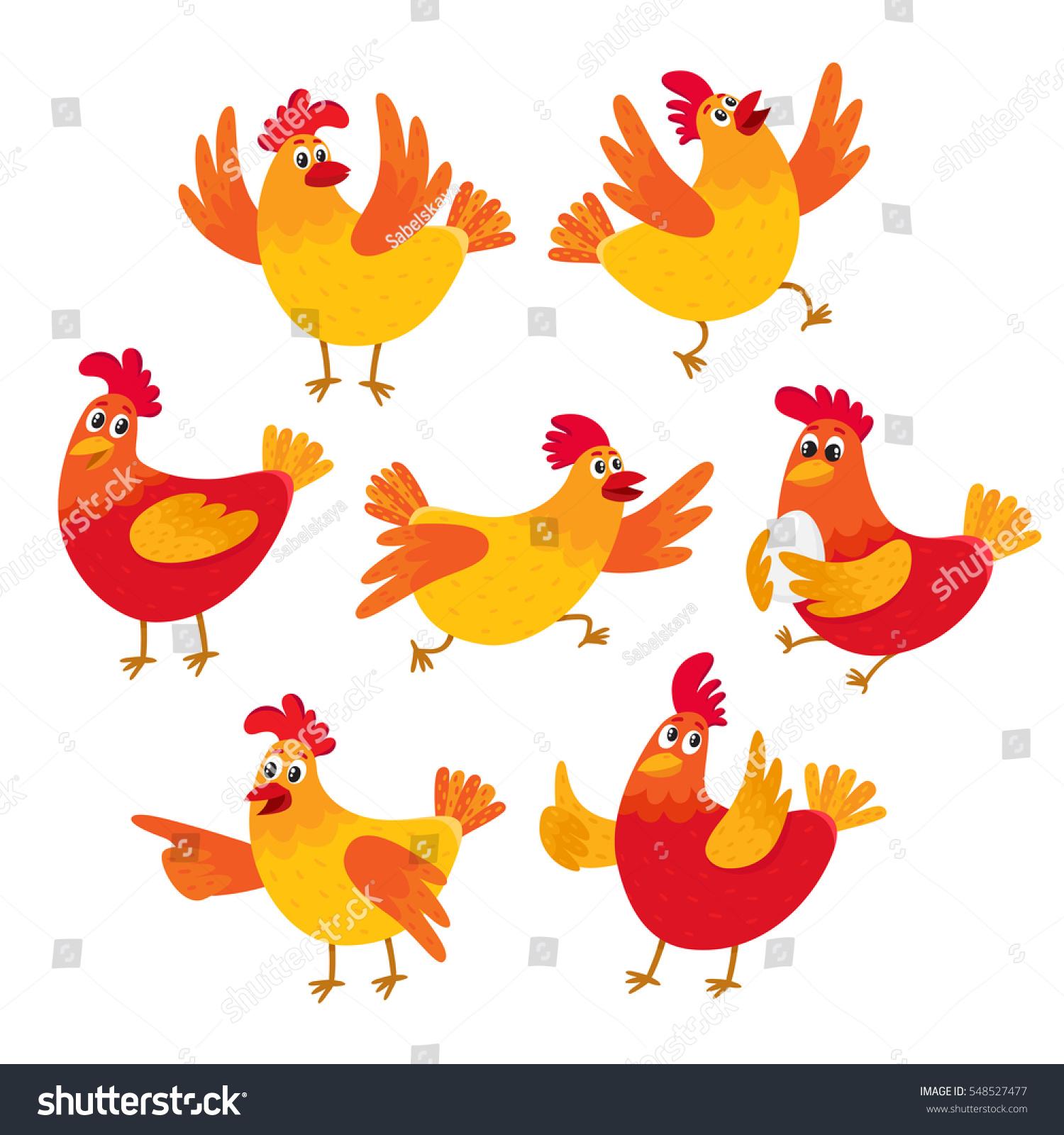 set funny cartoon red orange chicken stock vector 548527477