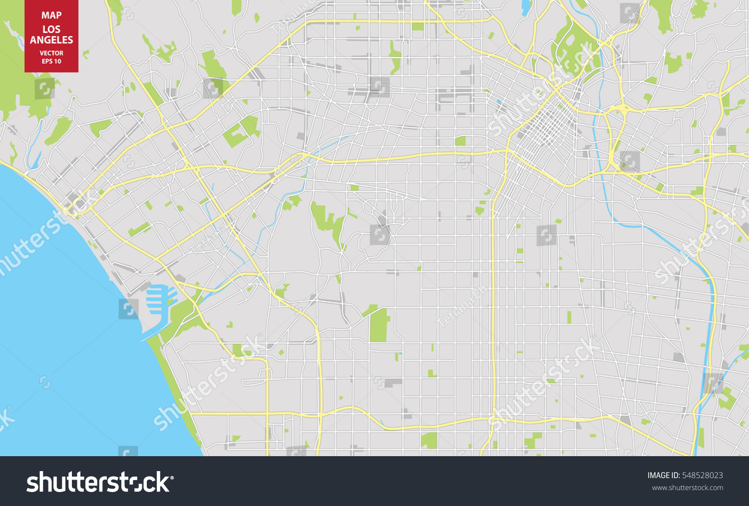 Vector Color Map Los Angeles Usa Stock Vector  Shutterstock - Los angeles in world map