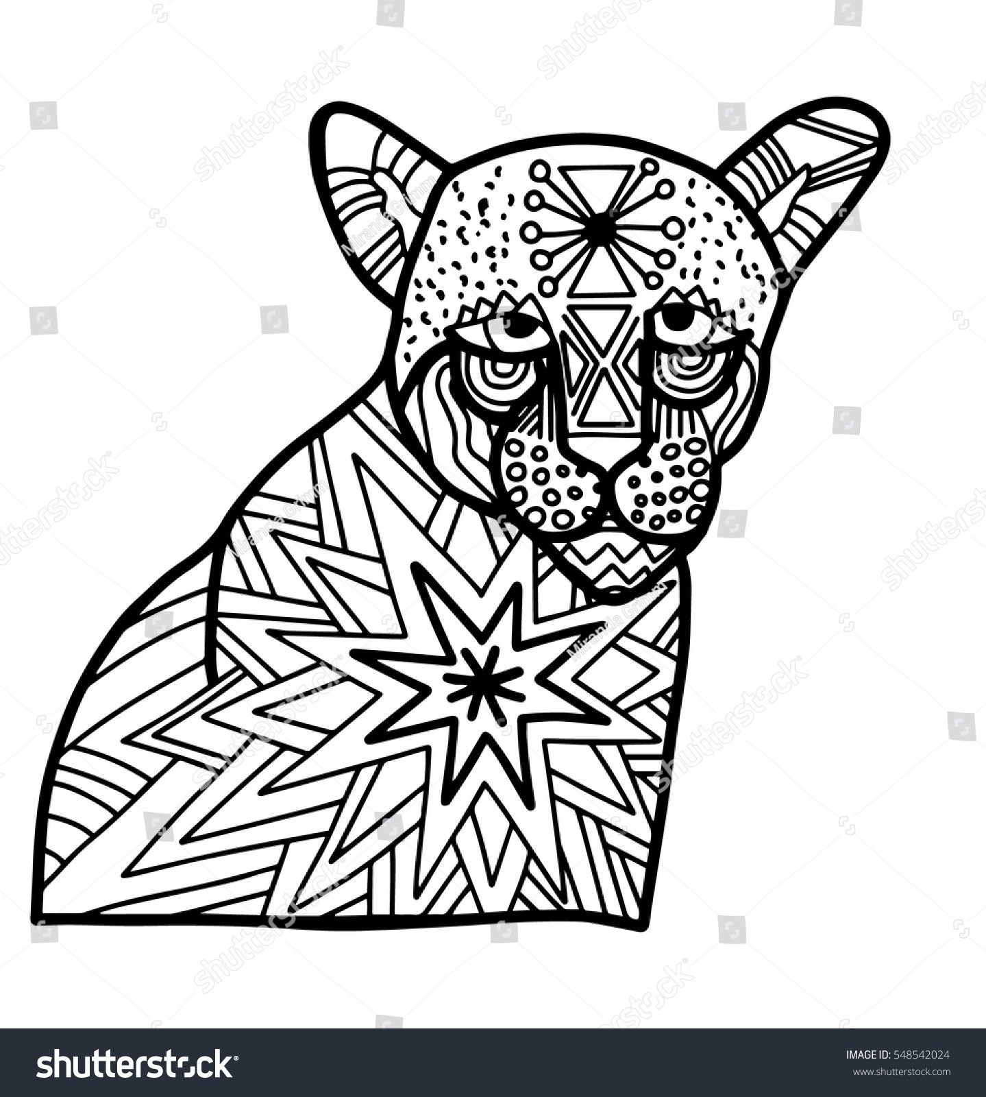 panther doodle blank coloring page relaxation stock vector royalty