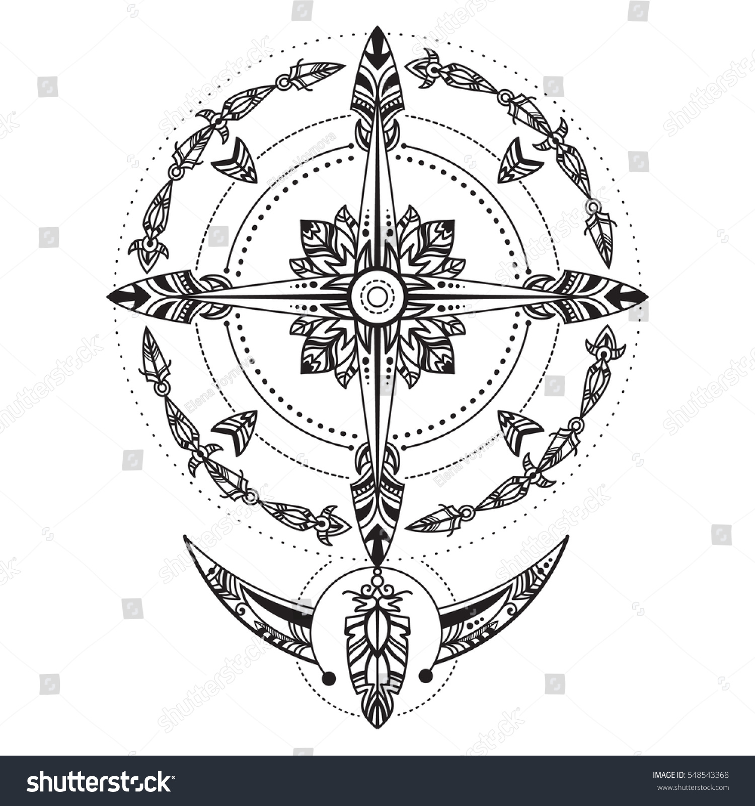 royalty free bohemian compass compass in a vintage 548543368 stock photo. Black Bedroom Furniture Sets. Home Design Ideas