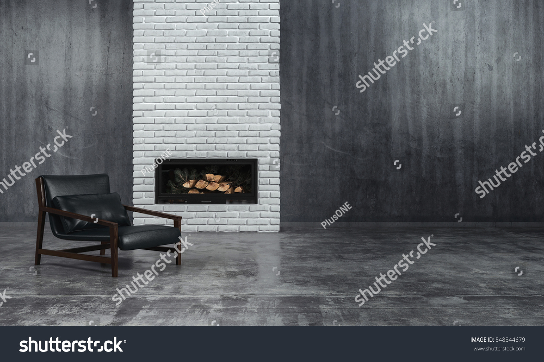 Minimalist Monochrome Living Room Interior Grey Stock