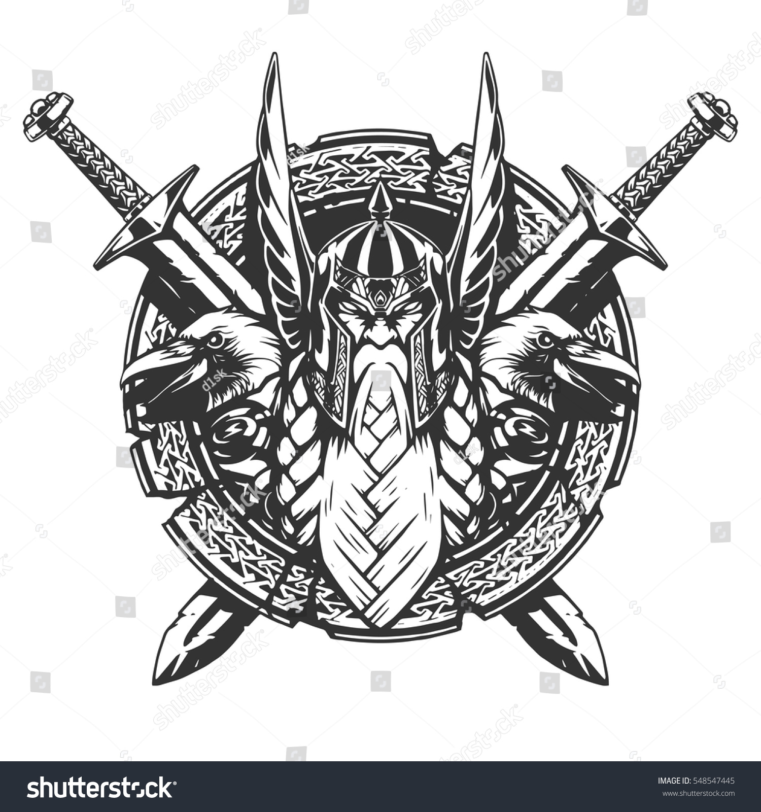 Illustration Tattoos: God Odin Illustration Tattoo Style Stock Vector 548547445