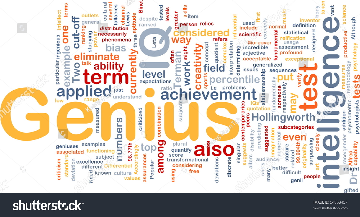 Background Concept Word Cloud Illustration Genius Stock Illustration