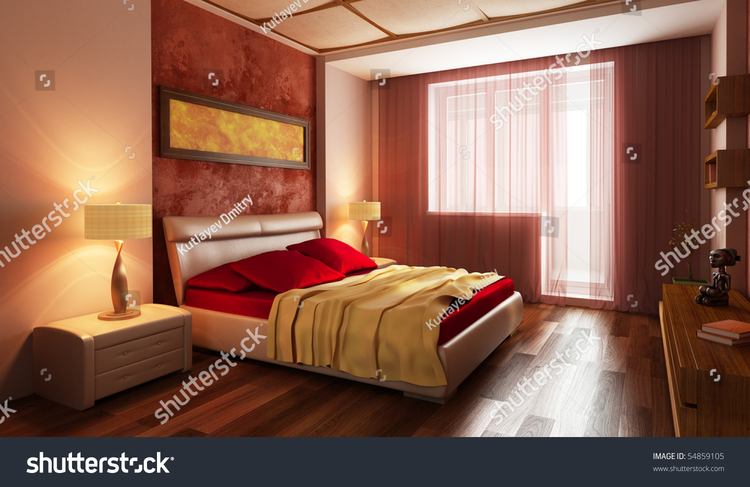 Modern Style Bedrooms Modern Style Bedroom Interior 3d Rendering Stock Photo 54859105