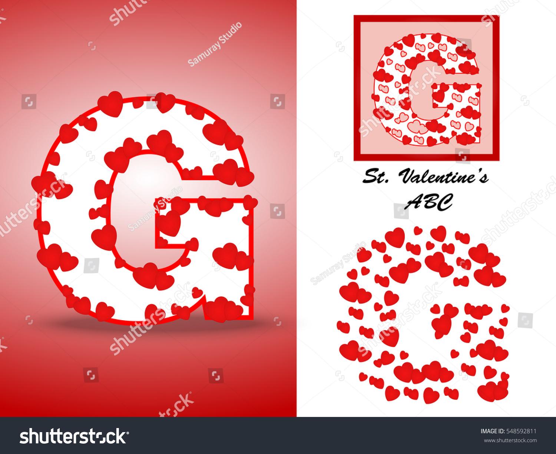 Alphabet Letter G Red Heart Valentine Stock Vector (Royalty Free ...