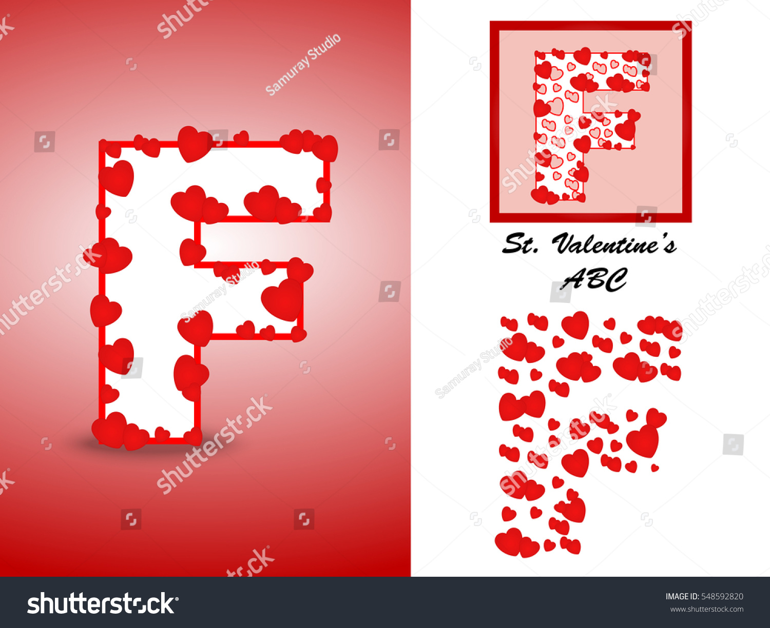 Alphabet Letter F Red Heart Valentine Stock Vector (Royalty Free ...