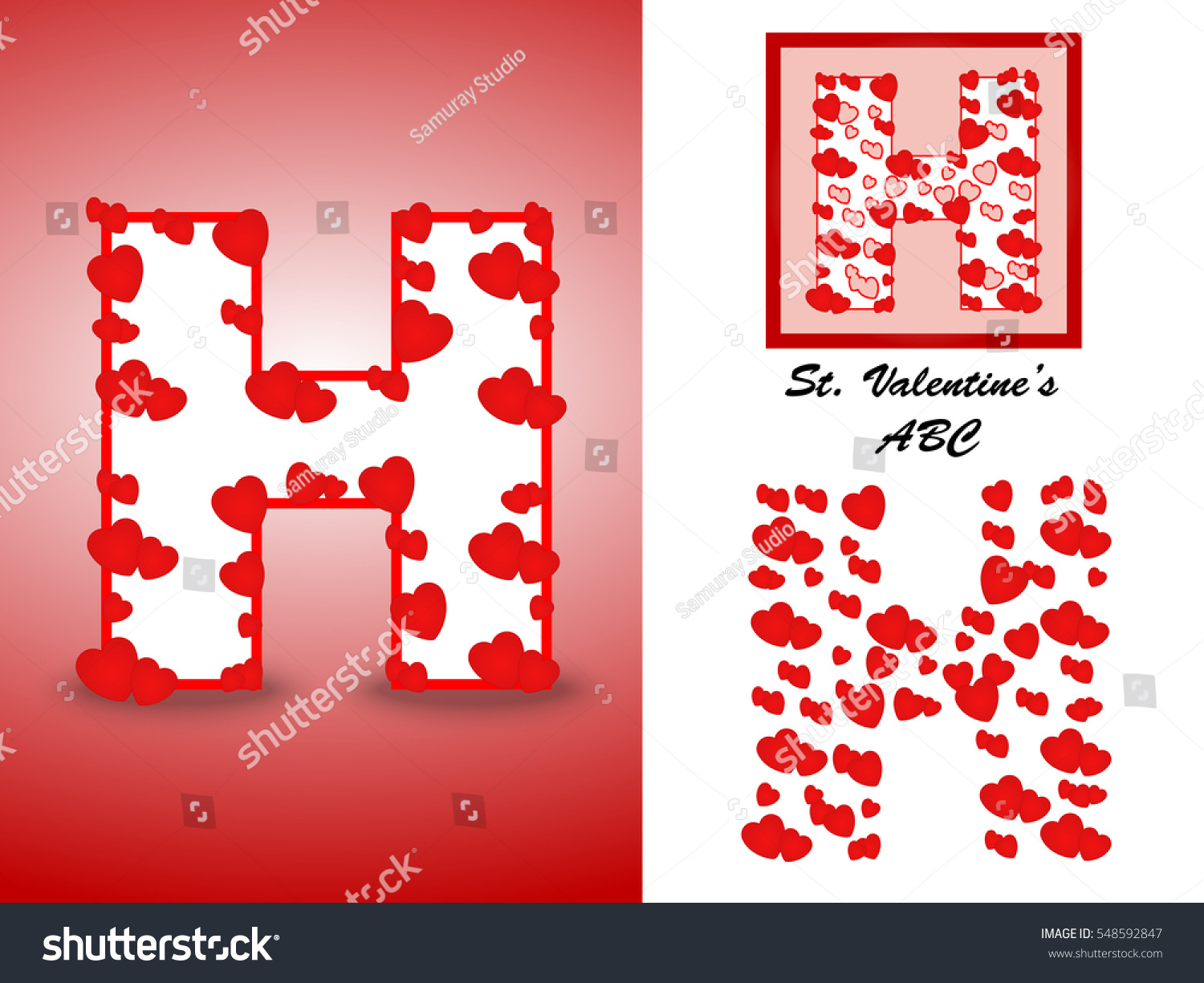 Alphabet Letter H Red Heart Valentine Stock Vector (Royalty Free ...