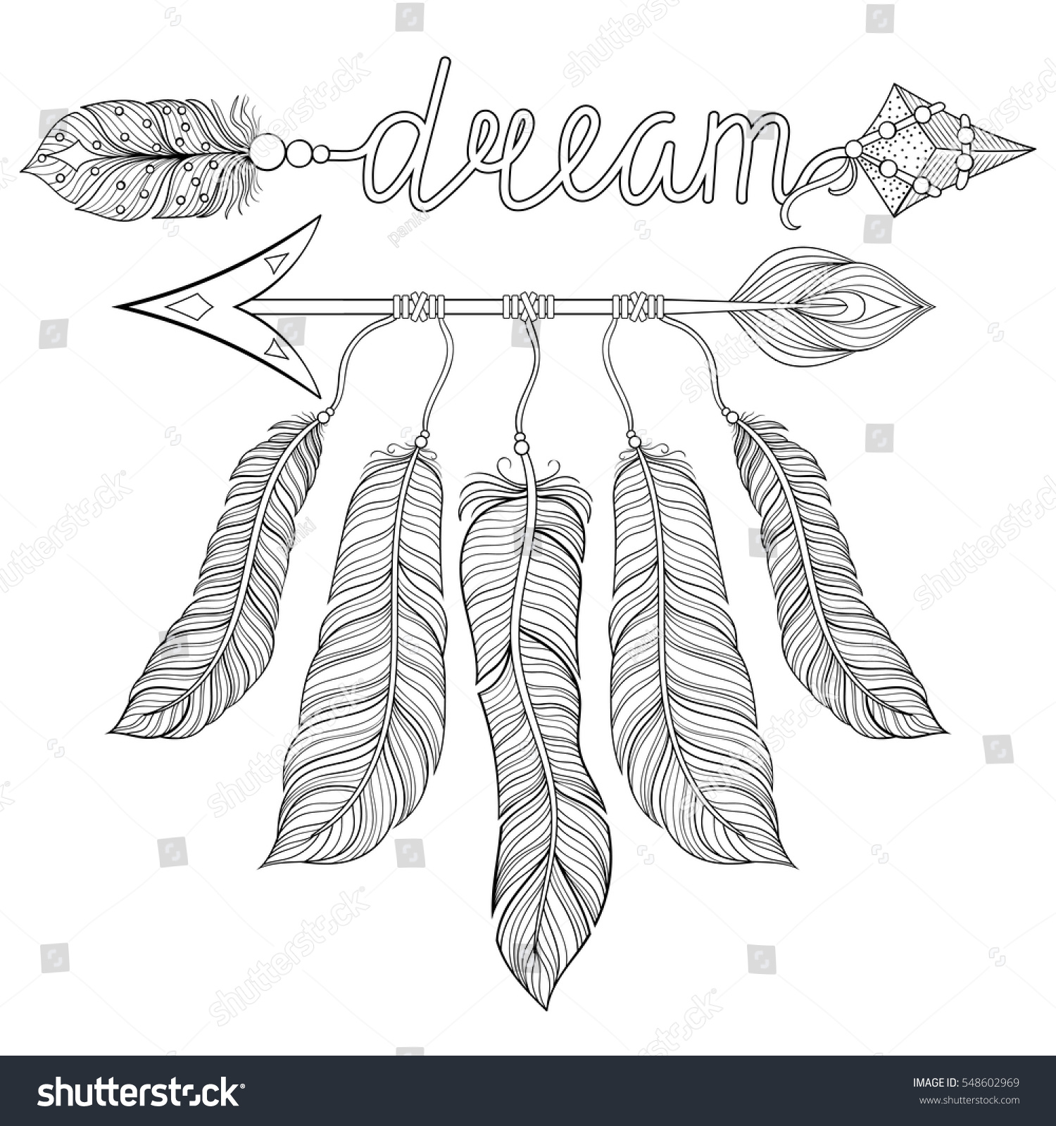 boho chic ethnic dream arrow feathers stock vector 548602969