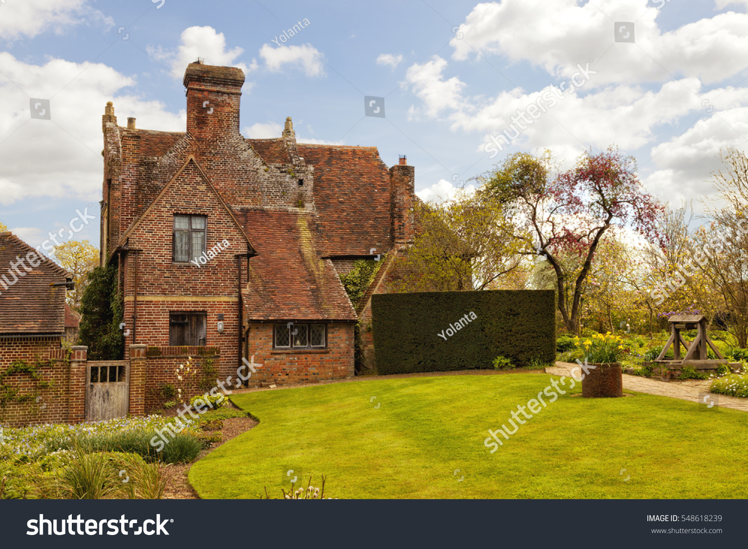 Old Red Brick English Cottage Front Stock Photo (Royalty Free ...