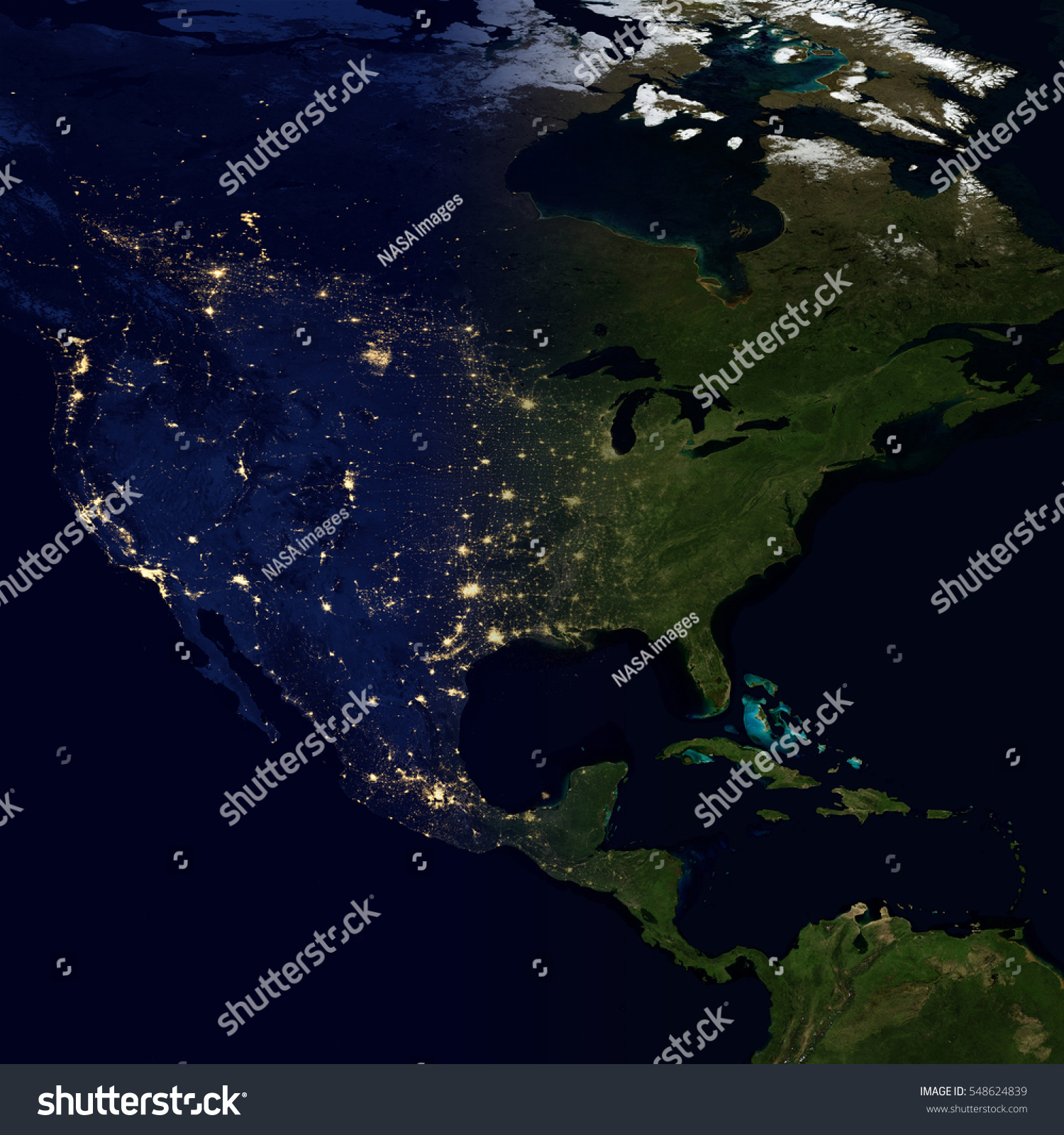 City lights on world map north stock photo 548624839 shutterstock city lights on world map north america elements of this image are furnished by gumiabroncs Choice Image