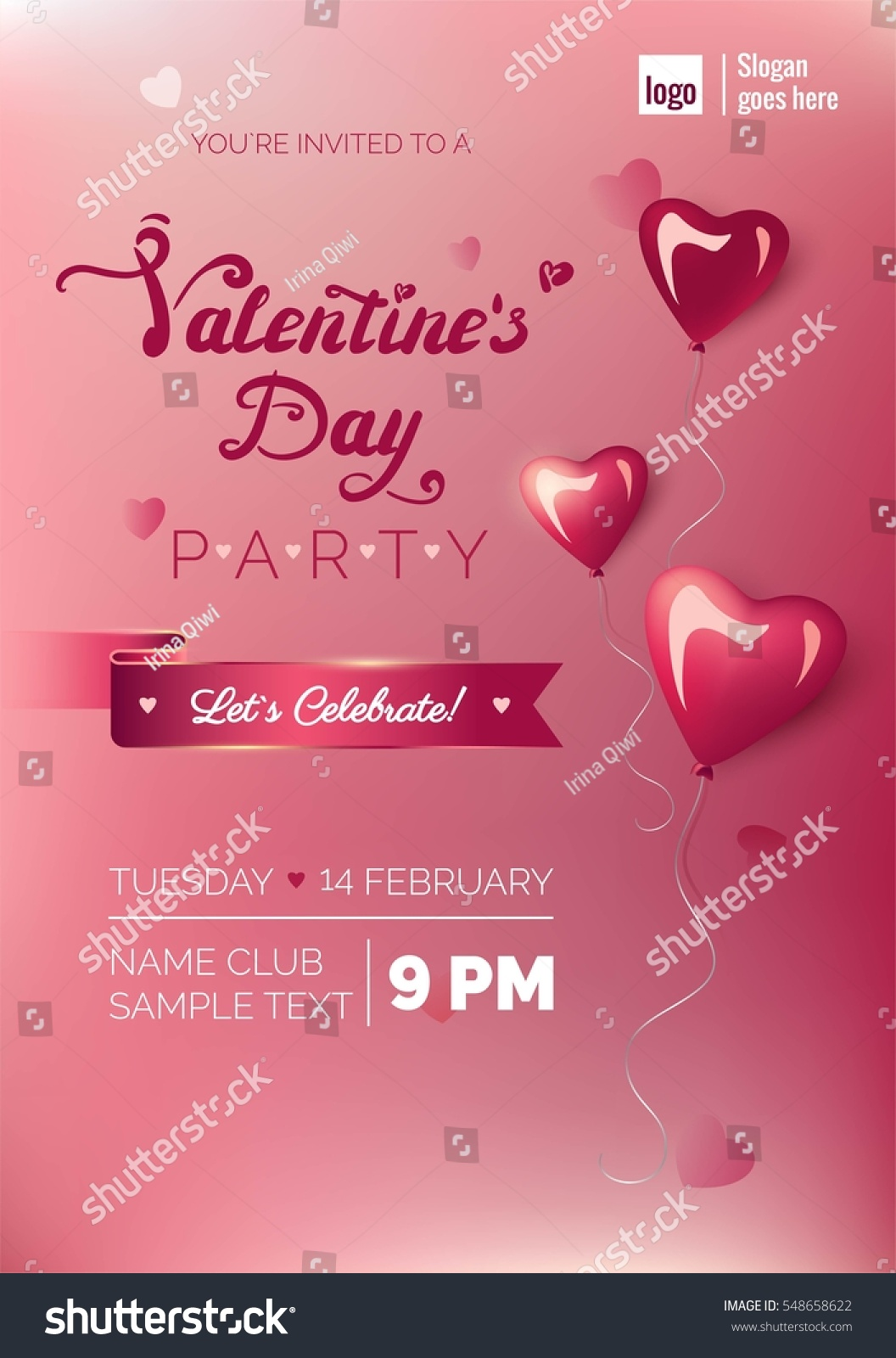Valentines Day Party Flyer Template Blurred Stock Vector Royalty
