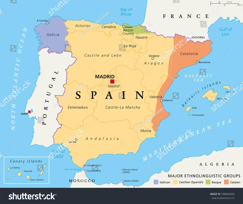 Spain Autonomous Communities Map Administrative Divisions Stock - Basque centers us map