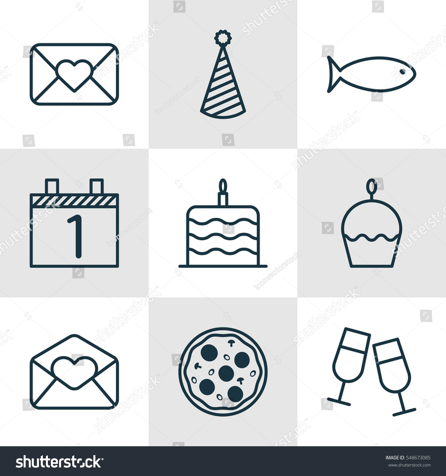 Set 9 Holiday Icons Includes Greeting Stock Illustration Royalty