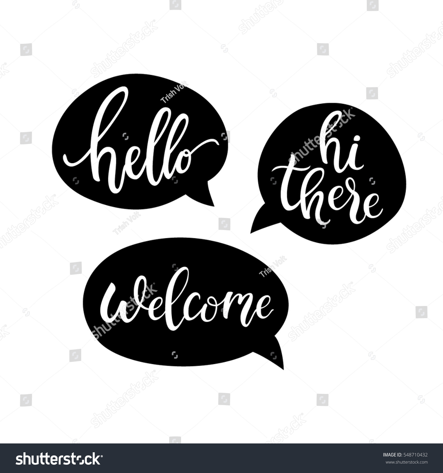 Hello Hi There Welcome Quote Bubbles Stock Vector Royalty Free