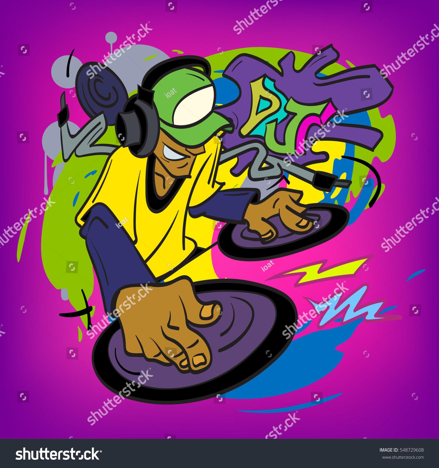 Dj Mixer Graffiti Vector Illustration Stock Vector