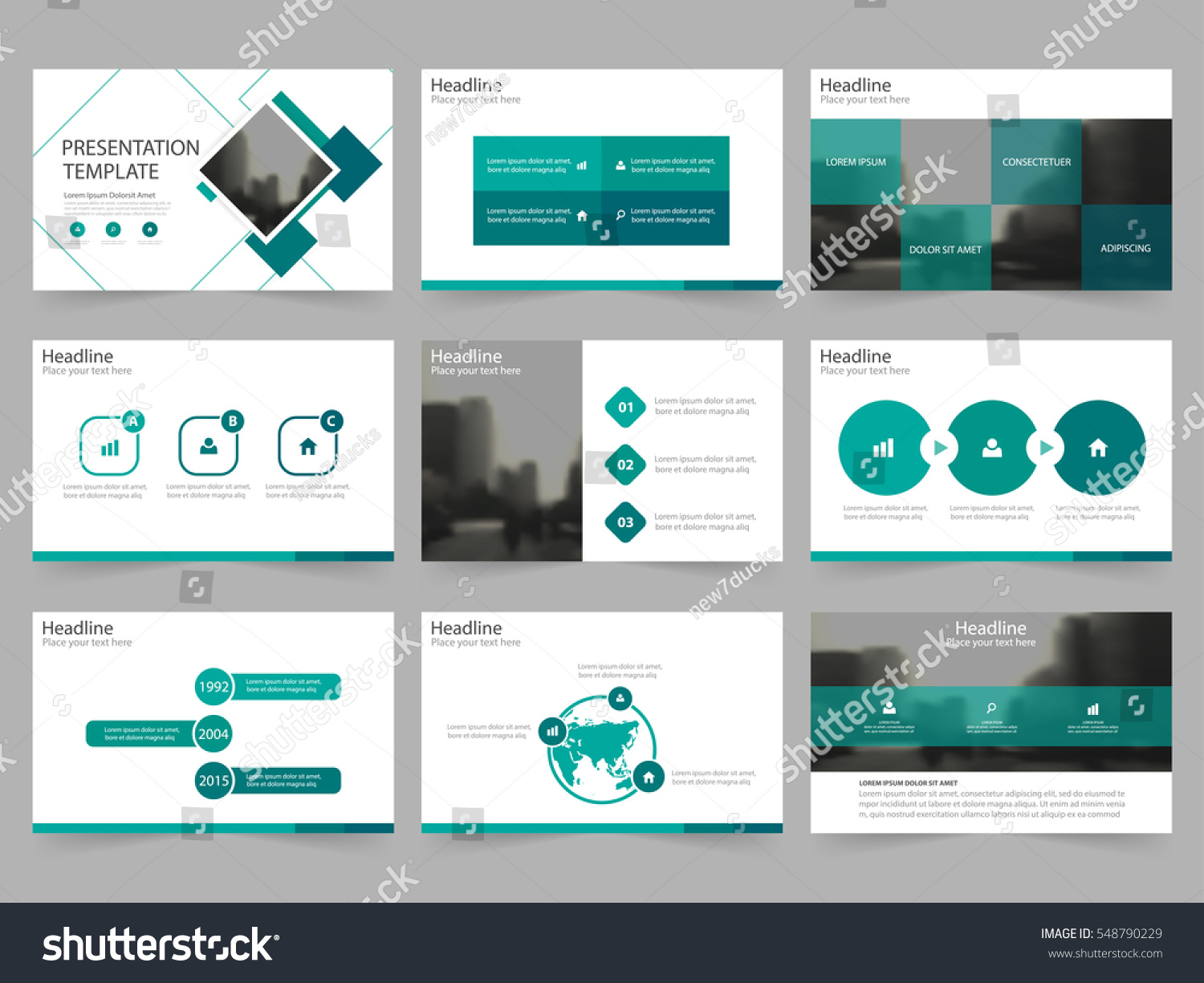 green square abstract presentation templates infographic のベクター