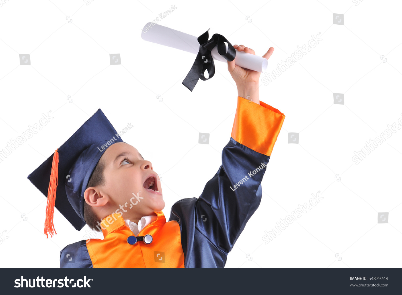Elementary Boy Wearing Graduation Cap Gown Stock Photo