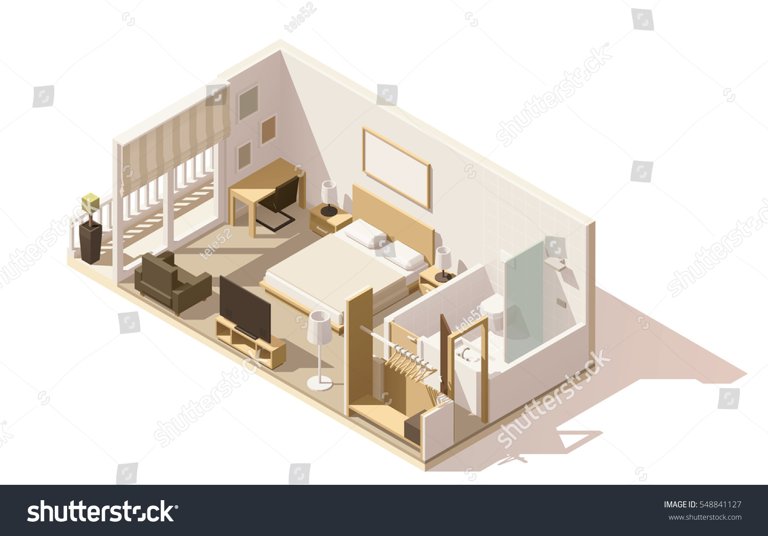Vector Isometric Low Poly Hotel Room Stock Photo (Photo, Vector ...